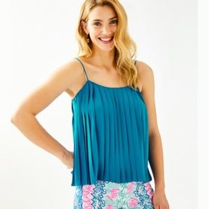 Lilly Pulitzer Rein Mr Peacock Pleated Tank Top L
